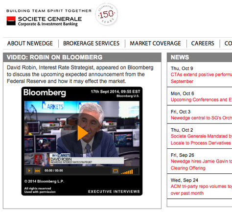 Newedge group sharing executive interview on Bloomberg